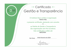 Certificado DOAR 2019 Nations Help