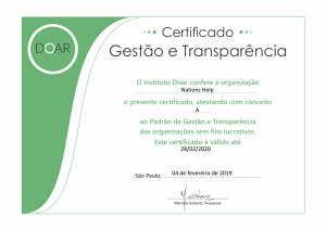 Certificado DOAR 2019 Nations Help